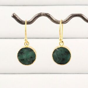 Natural Round Stone Emerald Gold Electroplated Drop Dangle Fashionable Earrings