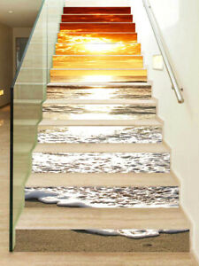13pcs Flower Waterfall Self-adhesive Staircase Sticker 3D Stair Riser Decals