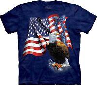 The Mountain Adult's Cotton T-Shirt Eagle American Flag Blue Tee M-L-XL-2XL NWT.