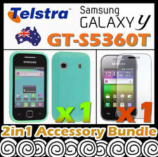 Samsung Galaxy Y GT-S5360T Telstra Blue Soft Silicone Rubber Gel Case Cover