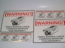 LOT 2 SECURITY CAMERAS WARNING SIGNS + 6 CAMERA STICKERS