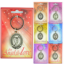 GUARDIAN ANGEL KEYRING GIFT LOVE LUCK WISDOM KEY RING NEW KEYRINGS SILVER PLATED