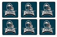 "PHILADELPHIA EAGLES COASTERS - 1/4"" BAR & BEER SET OF 6"