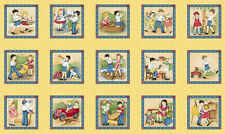 Little Darling's Child's Play Squares Panel Cotton Quilting Fabric -60cm x 110cm