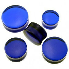 "1 Pair GIANT 3/4"" 19mm Blue Glass Saddle Plugs Ear Organic Flared *Minor chip*"