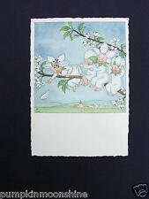 #H522- Unused Xmas Greeting Card Blossom Fairies on Branch ~ Ars Sacra ~ Germany