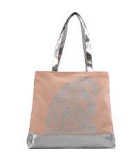 ANAIDA Tote Bag Canvas Cotton Beach Handbag pink peach silver
