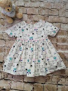Baby Girls John Lewis Cat Print Cotton Short Sleeve Dress Age 6-9 Months