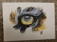 TIGER EYE - ACEO Original Watercolor Painting - - TIGER EYE