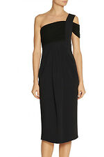 Proenza Schouler One-shoulder crepe and jersey black dress 2 UK 6 -8
