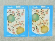 Vintage 1950's Meyercord Decals Set Of Two Chinese Lanterns And Cherry Blossoms