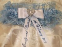 PERSONALISED BLUE AND WHITE WEDDING GARTER WITH HEART ~ PLUS SIZE (LARGE)