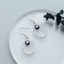 Damen Ohrhänger Muschelschale Perlen echt Sterling Silber 925 Zirkonia Ohrringe