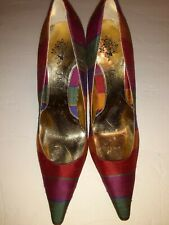 J RENEE' Satin Finish Multi Color Stripes Pumps Shoes 8.5 great condition