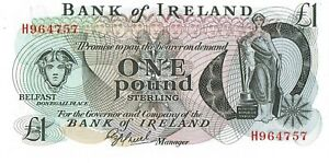 NORTHERN IRELAND BANKNOTE BANK OF IRELAND 1 P61b 1977 UNC