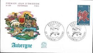 1850+ FDC  ENVELOPPE 1er JOUR    SERIE DES REGIONS  L'  AUVERGNE