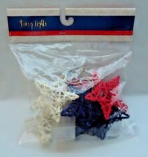 Star Shaped Red White & Blue String Lights 8 Warm White Led Battery Operated 3.5