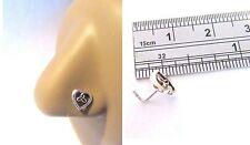 Sterling Silver Nose Stud Pin Ring L Shape Celtic Open Heart 20g 20 gauge