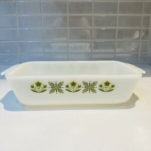 Vintage Anchor Hocking Fire King 1 qt loaf pan #441 Meadow Green pattern in VGC
