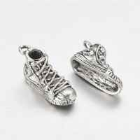 10 Pcs Antique Silver Lead Free Tibetan Shoes Pendants Charms 21x7x9mm Hole 2mm
