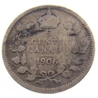 1906 Canada 5 Cents Small Silver Circulated Canadian Edward VII Five Coin P052