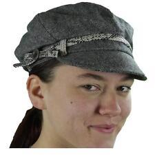 New NWT August Accessories Hat Newsboy Cabbie Cap Herringbone Wool Gray Black