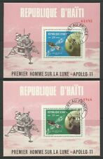 HAITI 1969 APOLLO 11 PERF MINI SHEETS USED
