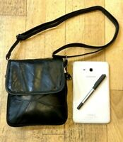 Ladies Cross Body Black Leather Shoulder Bag Work Travel Soft Handbag Satchel