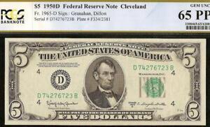 GEM 1950 D $5 DOLLAR BILL FEDERAL RESERVE NOTE PAPER MONEY Fr 1965-D PCGS 65 EPQ