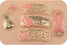 "2 Hole Beads Pink Ribbon +Boxing Glove Charm ""Fight"" Breast Cancer Sliders QTY 5"