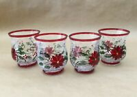 Set of 4 Vintage Hand Painted Tacky Glass Christmas Candle Holders