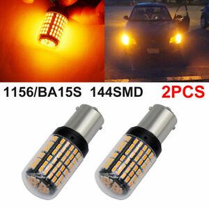 2X 1156 BA15S LED 144 SMD Canbus Yellow Car Brake Reverse Lamp Tail Light Bulb