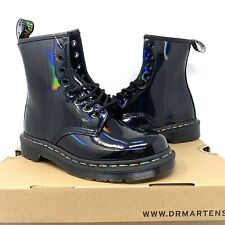 Dr. Martens Women's Rainbow Patent Combat Boots Black Leather 1460 - Size 10 US