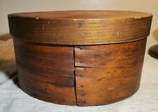 ANTIQUE PRIMITIVE WOODEN FIRKIN STYLE BOWL BUCKET CONTAINER w/ LID & BRASS NAILS