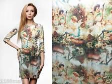 "Digital Print Renaissance Silk Satin Charemuse Fabric Lovely Angel by 32"""