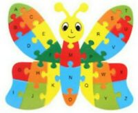 ABC Puzzle Alphabet Butterfly Shape Wooden Jigsaw kids Educational Learning Toys
