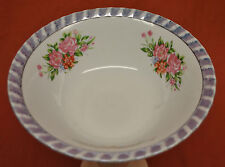 "Blue Luster Band, Pink Roses, Fluted Rim Soup Bowl 7-1/8"" YTS2 Design Yamatsu"