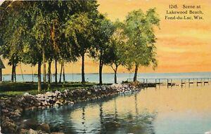 FOND-DU-LAC WI – Lakewood Beach Scene - 1914
