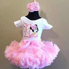 Minnie mouse pink  pettiskirt set  1st or 2nd  birthday ADD BABY'S NAME