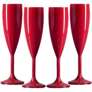 Elite Premium Reusable Plastic Polycarbonate Champagne Flutes - Red- Made in UK