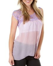 New  Cute Sheer Lace Mauve Top Plus Size 14/1XL (7999)AX