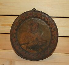 Antique Folk hand painted oil/wood wall hanging pyrography plate bagpiper