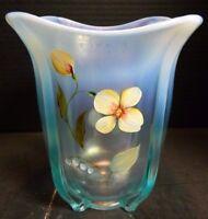 """Vintage Hand Painted Fenton Aqua Blue Opalescent Square Vase 7"""" x 7"""" Excellent"""