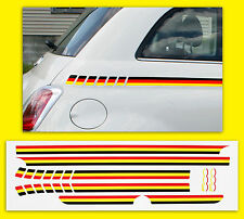 FIAT 500 GERMAN Flag side Stripe style Decals Stickers (not Italian)