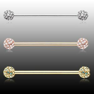 Rose Gold Pave Diamond Full Dome Cluster Industrial Barbell AB Clear Silver Sexy