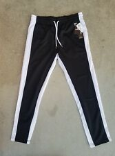 Southpole Men's Athletic Skinny Track Pants Open Bottom, Black, Large