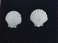 Sea Shell EARRINGS Pewter Made in the USA Beach Ocean Nautical Silver Metal