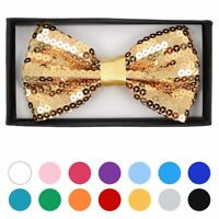 Men's Sparkle Sequin Banded Bow Tie Gift Box Set Pre-Tied Bright Colors