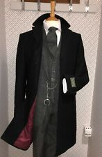 Long Black Coat Mens Cromby Style coat Wool Blend Overcoat Red lining All Sizes