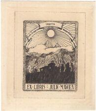 "J. L. HIDALGO: Exlibris Julio Mayora, 1940, ""Sobre toda tempestad impera..."""